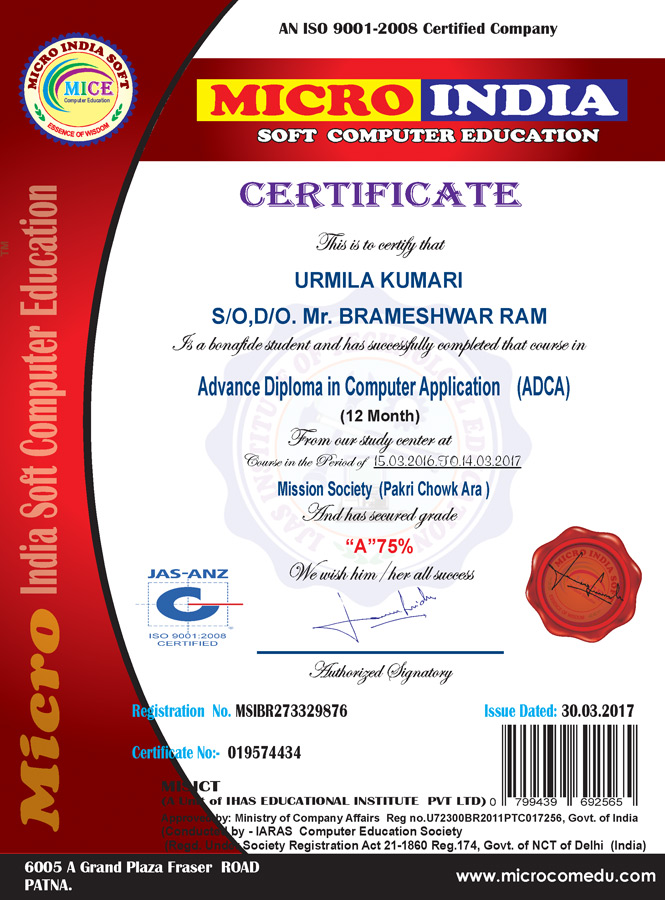 Certificate and icard sample micro india certificate sample yadclub Gallery